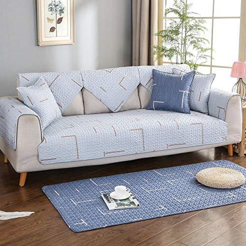 YUTJK Salón de sofá,Fundas de Asiento de sofá de Tela para Sala de Estar,Funda Protectora de Muebles,Twill Impreso Acolchado Sofá de algodón-Gris_110×180cm