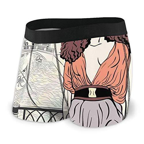 Boxershorts für Herren, Junges Mädchen, Sommerhase im Ölgemälde-Stil mit Blumen auf dem Kopf, rosa Wangen Gr. L, Farbe 3