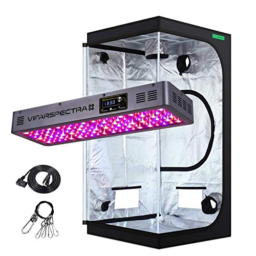 VIPARSPECTRA Timer Control TC600 600W LED Grow Light with 3'x3' Mylar Hydroponic Grow Tent Complete Kit for Indoor Plant Growing