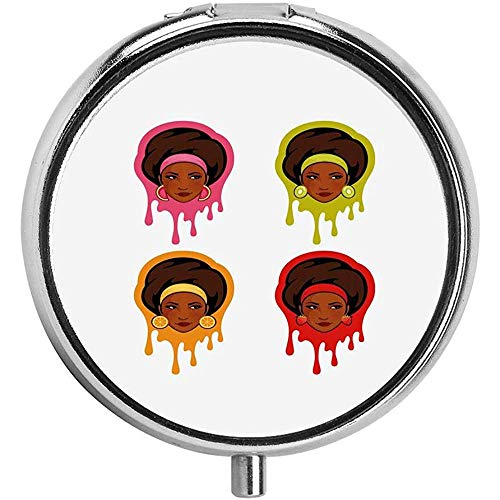Watermeloen Kiwi Aardbei en Oranje Oorbellen met Afro-Amerikaanse Meisjes Pill Case RoundMetal Draagbare Pil Container