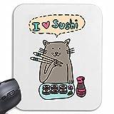 """Mousepad (Mauspad) """"I LOVE SUSHI KATZE MIT STÄBCHEN BEIM SUSHI ESSEN FISCH REIS LIEBLINGSGERICHT MITTAGESSEN ABENDESSEN SUSHI BAR"""" für ihren Laptop, Notebook oder Internet PC .. (mit Windows Linux usw.) in Weiß"""