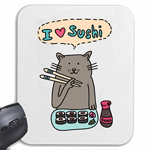 Bandenmarkt muismat (mousepad) I Love Sushi kat met stokjes bij sushi eten vis rijst LIEBLINGSGERicht lunch avondeten sushi bar voor uw laptop, notebook of internet PC (met Windows