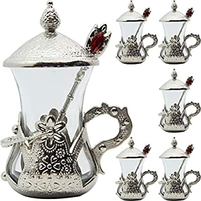 Alisveristime (Set of 6) Handmade Turkish Tea Water Zamzam Serving Set Glasses Saucer (Silver)