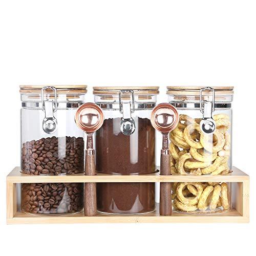 KKC ガラス保存容器 密閉保存瓶 密封びん コーヒー豆保存容器 珈琲豆、コーヒー粉、ナッツ、スナック、紅茶、食品貯蔵タンク竹製の蓋 密封 気密容器 キャニスター 3個セット 1200ML (竹製ラック、ススプーン 2個)
