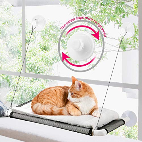 ZALALOVA Cat Window Perch, Cat Hammock Window Seat w/Free Fleece Blanket 2020 Latest Screw Suction Cups Extra Large Sturdy Cat Bed Cat Resting Seat Holds Two Large Cats