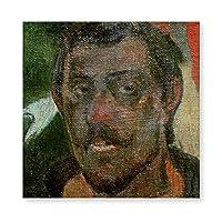 INOVポール・ゴーギャン 自画像 c.1890-93 アートパネル 40x40cm キャンバス絵画 玄関(フレーム・木枠付きの完成品) アートフレーム フレーム