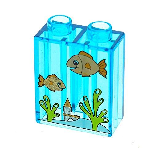 1 x Lego Duplo Bau Stein 1x2x2 transparent hell blau Bedruckt Fische Aquarium Glassteine 4966 5656 9225 4066pb280