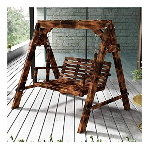 YYDD Garden Swing Outside Furniture Outdoor Swing Chair, All Solid Wood Waterproof Sunscreen Double Terrace Rocking Chair