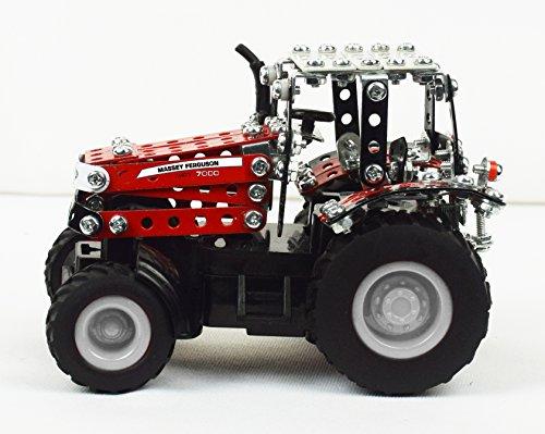 RC Auto kaufen Traktor Bild 4: Tronico 09541 - Metallbaukasten Traktor Massey Ferguson MF-7600 mit Kippanhänger und Fernsteuerung, Maßstab 1:64, Micro Serie, rot, 427 Teile*