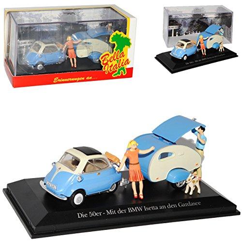 B-M-W Isetta Blau mit Wohnanhänger Gardasee 1955-1962 mit Sockel und Vitrine 1/43 Atlas Modell Auto