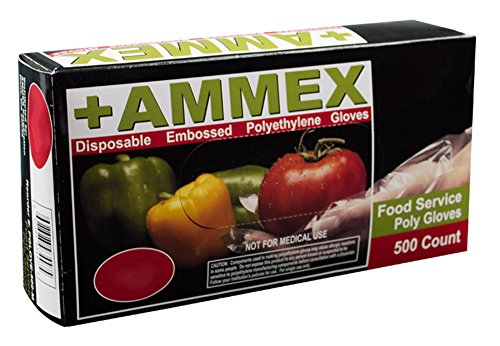 AMMEX Embossed Polyethylene Disposable Gloves - Clear, 1 Mil, Food Service, Small, Box of 500