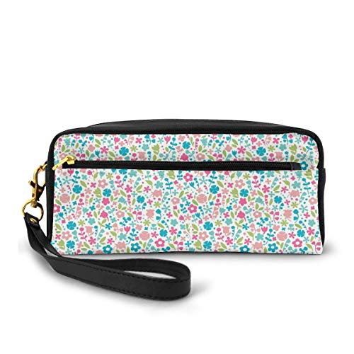 Pencil Case Pen Bag Pouch Stationary,Colorful Doodle Floral Pattern Polka Dots Blooming Nature Influenced Abstract Design,Small Makeup Bag Coin Purse