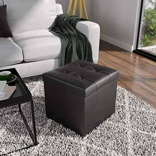 Everlane Home SquareFoldable Storage Ottoman with Square Tufting, Faux Black