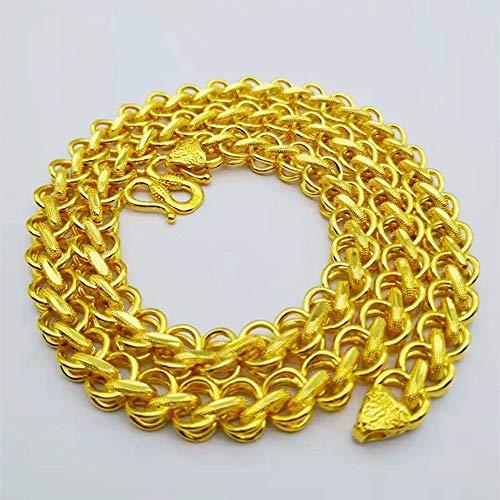 Kunze Collar Grueso de Oro para Hombres Cadena de Oro Grande de 10 mm Cadena chapada en Oro de 24 K de 60 cm de Largo