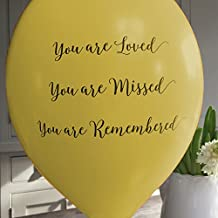 ANGEL & DOVE 25 Yellow 'You are Loved, Missed, Remembered' Biodegradable Funeral Remembrance Balloons - for Memory Table, Memorial, Condolence, Anniversary