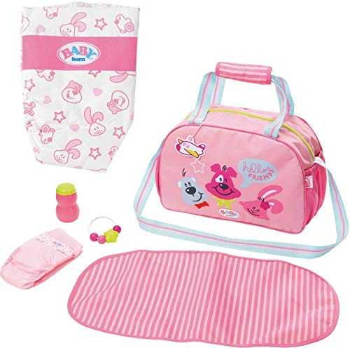 Zapf Creation Baby Born 2er Set 824436 826508 Wickeltasche + Windeln mit süßem Muster (5 Stück)