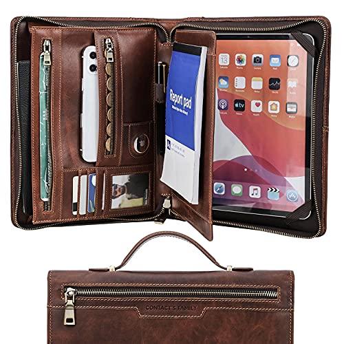 HaoHZ A4 Carpeta de Conferencias Zipper + Cuero, Carpeta de Documentos para Viaje, Portafolio Carteras de Viaje, Carpeta Organizadora Personal Agenda, Marrón,iPad Pro 11 2021