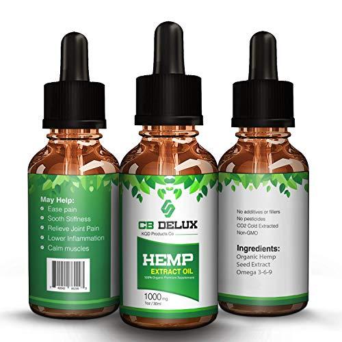 Premium Grade Hemp Oil Drops - 1000 MG - Natural Hemp Oil Extract - Pain, Anxiety & Stress Relief - Omega 3 -