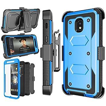 Njjex Galaxy J7 Refine Case for Samsung J7 2018/J7 Star/J7 V 2nd/J7 Aura/J7 Top/J7 Crown/J7 Eon/J7 Aero Case [Nbeck] Built-in Screen Protector Swivel Holster Belt Clip Kickstand Phone Cover - Blue