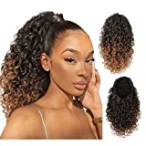 AISI BEAUTY Drawstring Ponytail Extension for Black Women Synthetic Curly Drawstring Ponytail with 2 Clips on Ponytails Hair Extension (T1/30)