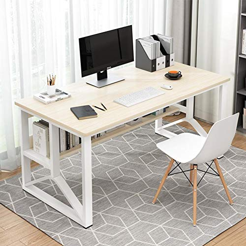 HXSKI Simple Style Laptop Desktop Table,Office Desk,Modern Student Study Table,Writing Desk,With Storage Shelves For Bedroom Home Office-C 120x60x72cm(47x24x28inch)