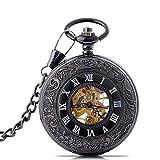 HCFSUK Reloj de Bolsillo Reloj de Bolsillo mecánico Tallado Negro Reloj de Bolsillo Retro con Tapa Reloj de Estudiante Reloj de Bolsillo Escala Romana Reloj mecánico Regalo de cumpleaños Reloj clás
