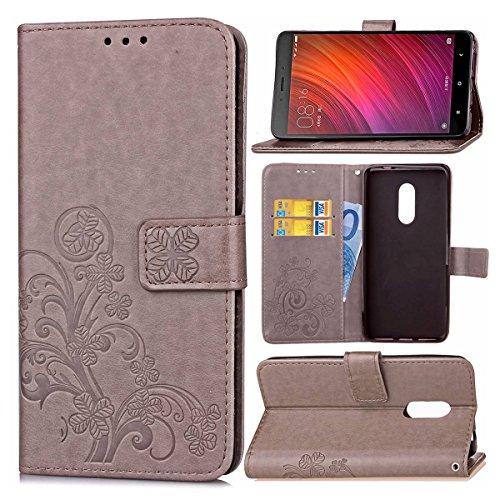 Guran Funda de Cuero PU para Xiaomi Redmi Note 4 Smartphone Función de Soporte con Ranura para Tarjetas Flip Case Trébol de la suerte en Relieve Patrón Cover - Gris