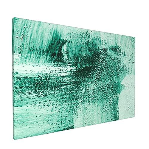 PATINISA Cuadro en Lienzo,Aguamarina Verde Turquesa y blanco Pintura cepillada Pinceladas abstractas Acogedor,Impresión Artística Imagen Gráfica Decoracion de Pared