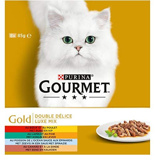 Gourmet Gold Luxe mix Kattennatvoeding 8 x 85g - doos van 6 (48 blikjes; 4,08kg)