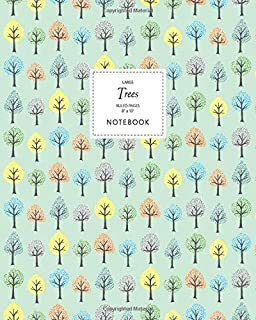 Trees Notebook - Ruled Pages - 8x10 - Large: (Pale Green Edition) Fun Notebook 192 Ruled/Lined Pages (8x10 inches / 20.3x2...