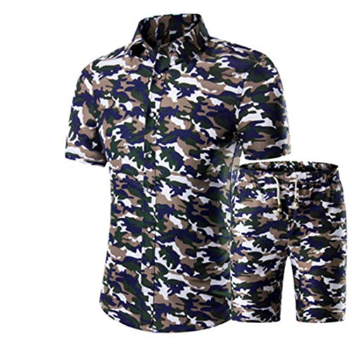 Camisa Casual Manga Corta Y Pantalones Cortos Hombre Camisa Playa Manga Corta Verano Camisa Hawaiana Camisa Informal con Botones Cuello Kent L-Green M