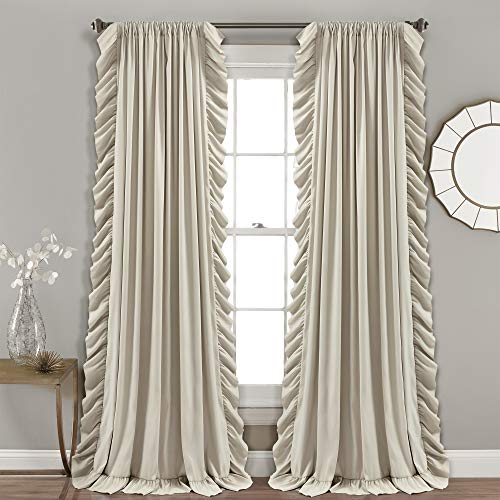"""Lush Decor Wheat Reyna Window Curtains Panel Set for Living, Dining Room, Bedroom (Pair), 84"""" x 54"""", 84"""" x 54"""""""