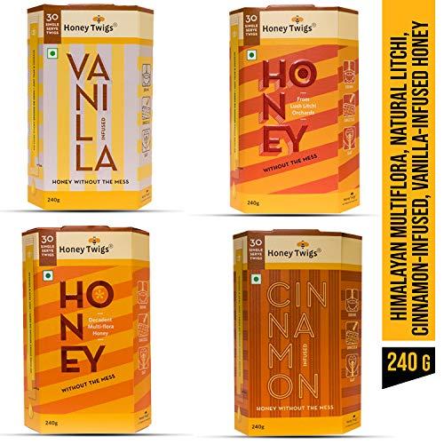 Honey Twigs 4 Variants Combo Pack / 240 Gm X 4 Units / Multiflora Honey Natural Litchi Honey Cinnamon Infused Honey Vanilla Infused Honey