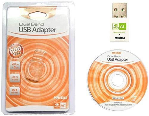 maxzo Adaptador USB wifi, wifi dongle AC600-802.11ac Dual Band 600 Mbps AC wifi usb - Blanco