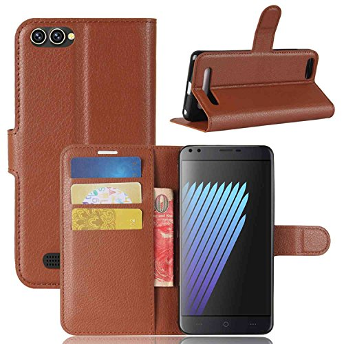 Tasche für Doogee X30 Hülle, Ycloud PU Kunstleder Ledertasche Flip Cover Wallet Hülle Handyhülle mit Stand Function Credit Card Slots Bookstyle Purse Design braun