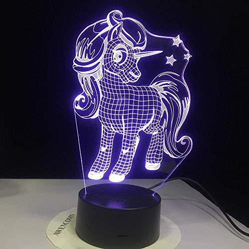 Nachtlampje 3D-slaaplamp schattig pony Little Unicorn 3D-nachtlampje met 7 kleuren Change Effect beste cadeau voor meisjes kinderen Holiday Lighting