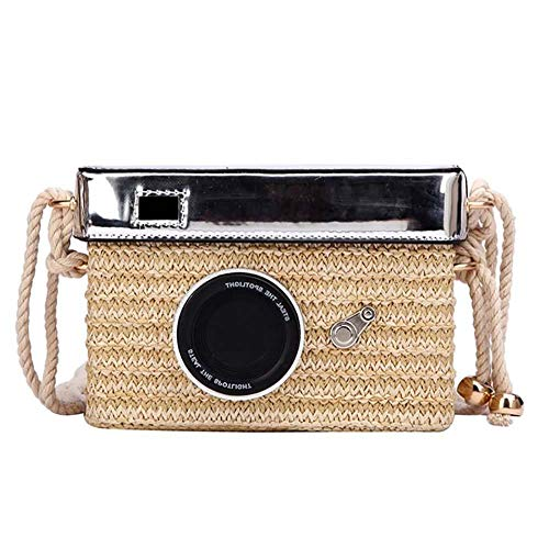 Demarkt Sommer Stroh gewebt Tasche Vintage Kamera Design Schultertaschen Strand Stroh Gewebte Tasche Holiday Umhängetasche für Frauen Mädchen