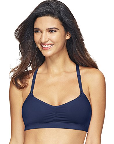 Hanes Women's ComfortBlend Soft T-Shirt Wirefree Pullover Bra MHG541, in The Navy, Large
