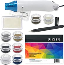 Embossing Kit with Heat Tool Bundle, Embossing Powders, Complete Embossing Starter Kit, Clear Embossing Pen, Embossing Ink Pad, 8X 10ml Embossing Powders for Crafts
