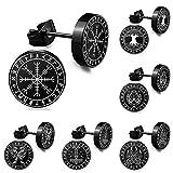 FLYUN 6 Pairs Dainty Viking Runes Black Stud Earrings Set for Women Girls Men 20 Gauges 10mm Fashion Hypoallergenic Stainless Steel Norse Odin's Piercing Ear Studs Packs (10mm-Viking Marking 2)