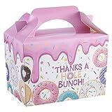 Heyu-Lotus - Lote de 20 cajas de regalo de papel de cartón, con diseño de donuts multicolores, bote de caramelos vacuno con asa para transportar tartas, tartas, fiestas de cumpleaños