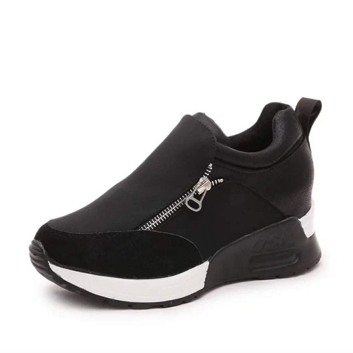 誘発する三なかなか[サニーサニー] レディース スニーカー インヒール 厚底靴 大きなサイズ シークレットシューズ ジッパー 通学 フラット オシャレ カジュアル 異素材切り替え 歩きやすい 通気性 快適 身長アップ 美脚 ランキング 22.5-26.0CM
