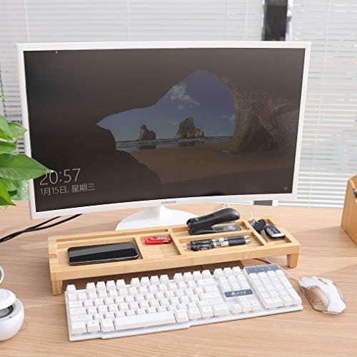 Monitorstandaard - Monitor / Laptop beeldscherm verhoger en bureau organizer - bamboe hout - Monitorstandaarden 2 in 1 - Met vakje voor telefoon, beker en pennenbak - Monitorverhoger bureau standaard van Decopatent®