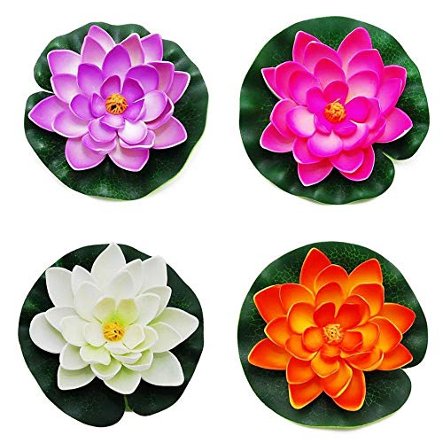 Simulación de Loto, 4 Piezas Plantas Artificiales de EVA Flor de Estanque Flotante Almohadillas de Lirios Falsos Flor para Jardín Piscina Pecera Decoración, 10 cm, Color Aleatorio