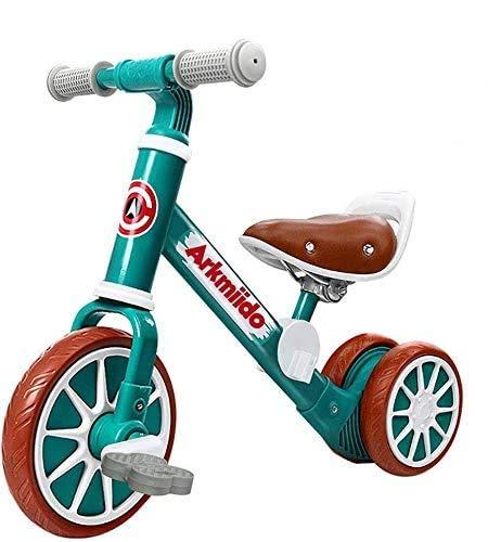 Arkmiido 2 in 1 Kinder Laufrad mit abnehmbaren Pedalen, Kleinkind-Trike / Dreirad, Kleinkinder-Laufrad für 18 Monate bis 4 Jahre Jungen und Mädchen, die drinnen / draußen Laufen (grün)