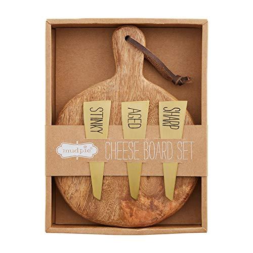 Mud Pie Boxed Cheese Set Juego de queso en caja de bistro, Madera, marrón