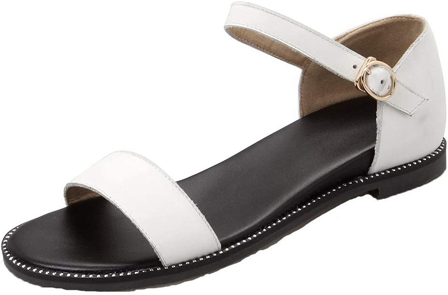 WeiPoot Women's Buckle Frosted Open-Toe Low-Heels Solid Sandals