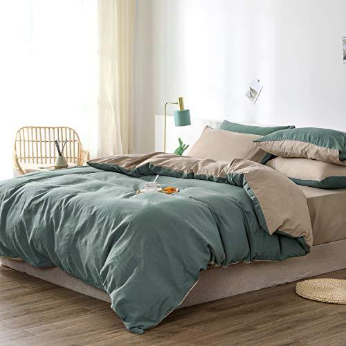 GETIYA Grün Beige Taupe Bettwäsche 200x200cm 3Teilig Hotel Qualität Microfaser Bettbezug Uni Wende Bettwäsche Einfarbig Deckenbezug mit Reißverschluss und 2 Kissenbezüge 80x80cm Doppelbett Bettbezug