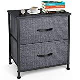 Yesker Nightstand with 2 Fabric Drawers - Sturdy Steel Frame, Small Dresser Storage Tower Organizer Unit For Child Room Bedroom Hallway Entryway Closets, Wide Wood Top, Easy Pull Handle, Black Grey