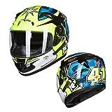 WWJIE Casco Integral de Moto ECE | Casco abatible de Moto, Off-Road Racing, Motocross, para Honda/Yamaha/Suzuki/Kawasaki, Bandit Helmet. (Verde Azul)-S